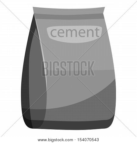 Bag of cement icon. Gray monochrome illustration of bag of cement vector icon for web