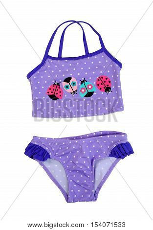 Children swimsuit isolate on white studio fabric