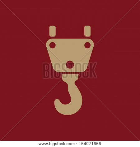 The crane hook icon. Building and lifting symbol. Flat Vector illustration