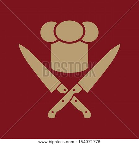The chef hat and crossed knives icon. Cook, restaurant, cafe symbol. Flat Vector illustration