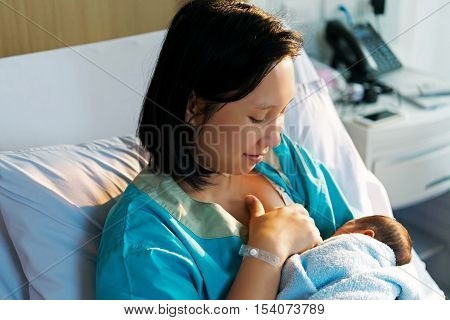 Mothers Breastfeed While Dating A Beautiful Golden Sunset.
