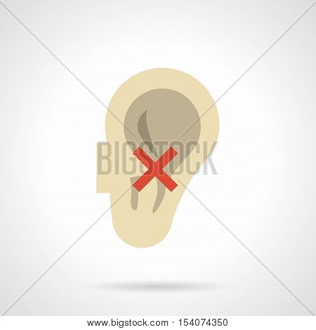 Abstract symbol of deafness - human ear with red crossed sign. Problem with hearing. Harm of smoking. Flat color style vector icon.