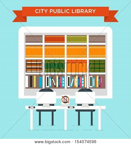 The Illustration Of City Public Liabrary