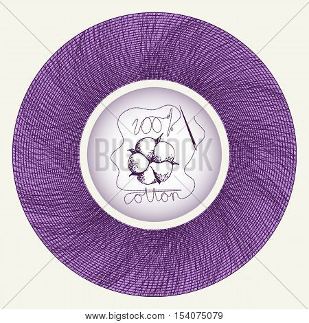 Hand drawn cotton flower in needle spool as hundred percents cotton symbol. Vector illustration in eps8 format.