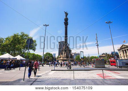 Barcelona, Spain - May 27, 2016: Statue of Christopher Columbus on boulevard La Rambla Santa Monica