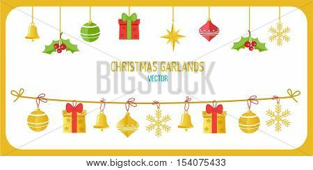 Christmas Garland Vector In Gold Color. Winter Holidays Vector Clip Art On White Background. New Year Garland Decorations. Snowflakes Gifts Christmas Balls Vector.