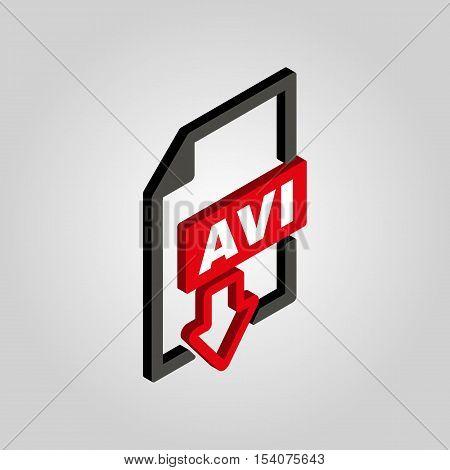 The AVI icon.3D isometric video file format symbol. Flat Vector illustration