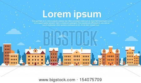 Winter City View Cityscape Snow Skyline Flat Vector Illustration