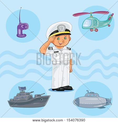 Vector illustration of a little boy seaman with a warship, submarine and helicopter