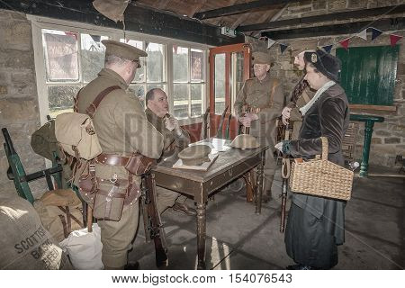 Tanfield Railway, Reenactors at the WW1 weekend at Andrew's House station Tanfield Railway the oldest railway in the world: Tanfield, Stanley, Co. Durham, UK, March 13, 2016.