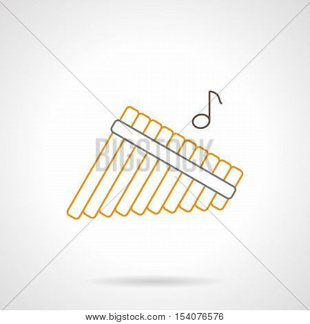Abstract sign of multitubular panpipes and one note. Traditional musical wind instrument. Solo performance of orchestra. Flat black and yellow line vector icon.