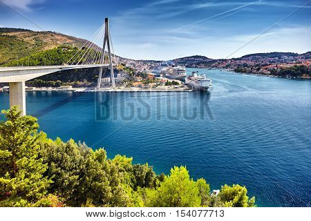 Franjo Tudjman Bridge And Blue Lagoon With Harbor Of Dubrovnik,d