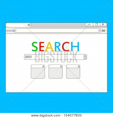 Simple browser window on blue background. Browser search. Flat vector stock illustration.