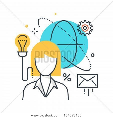 Color Line, Outsource, Cloud Concept Illustration, Icon
