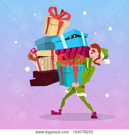 Christmas Elf Boy Cartoon Character Santa Helper Hold Many Present Box Flat Vector Illustration