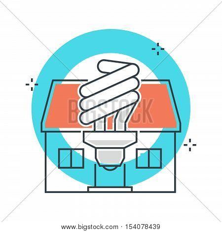 Color Line, Energy Efficient Lamp  Concept Illustration, Icon