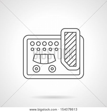 Guitar multi effects unit symbol. Professional equipment for concerts, musical bands, recording studio. Flat black line vector icon.