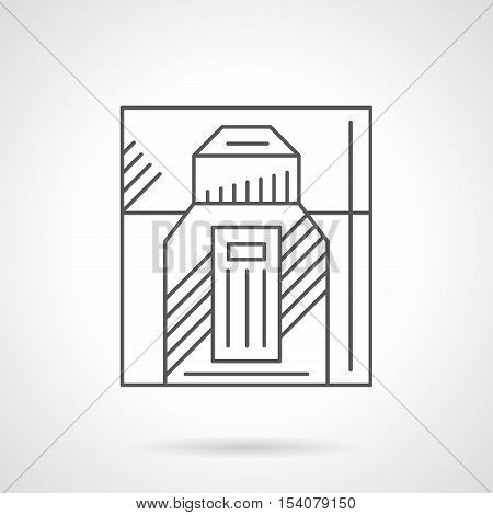 Male perfumery products. Symbol for web store of perfumes and mens cosmetic. Box and bottle of cologne. Flat black line vector icon.