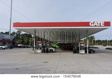JACKSONVILLE, FL - OCTOBER 28, 2016: A Gate Petroleum gas station in Jacksonville. Gate Petroleum is headquartered in Jacksonville and has over 225 gas stations in 6 states with over 2,200 employees.