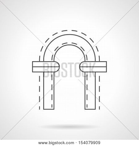 Arched frame with symmetrical stone decorations for window or doorway. Classic round arch. Samples of architectural elements. Flat black line vector icon.