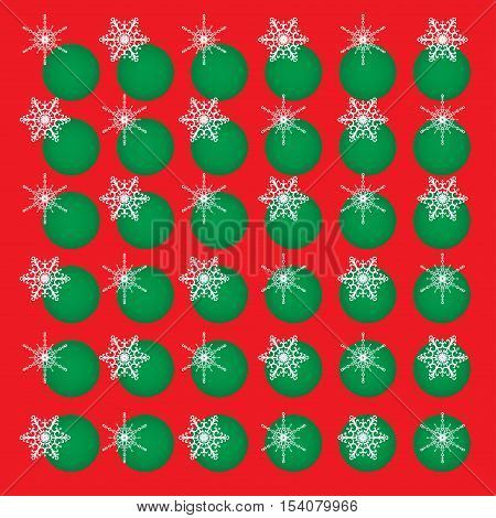 Christmas vector abstract background. White snowflakes and green circles on red. Square format.