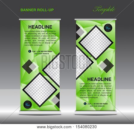 Green Roll Up Banner template vector illustration, standy design, display, x-stand, flag-banner, pull up, banner template, polygon background