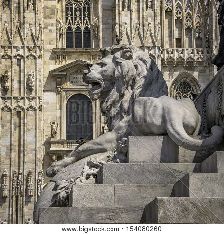 Lion And Duomo Di Milano, Cathedral Of Milano, Italy