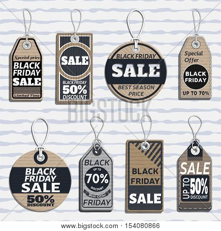 set of sale tags. different tags design on the theme of black friday sale, discount, retail with cardboard texture. sale tags template made in material design style. vector illustration