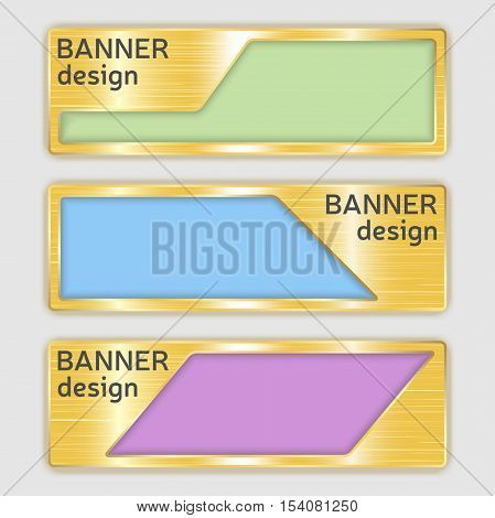 set of metallic textured banners. web banners with realistic gold texture in abstract forms. set of golden geometric vector banners made in material design style. vector illustration.