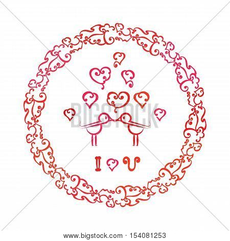 Kissing birds and hearts. Love Concept. Idea for kiss day, wedding decoration background. Doodle vintage frame. Party celebration Poster. Greeting birthday card, festive banner. Vector illustration