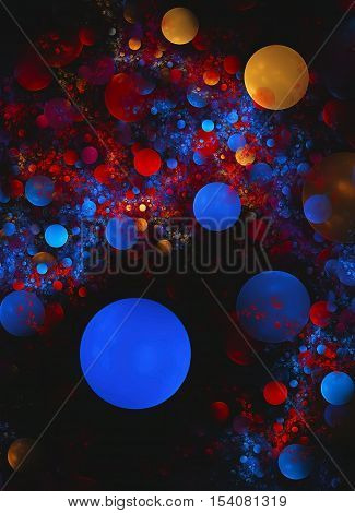 Abstract fractal computer generated image colorful bubbles