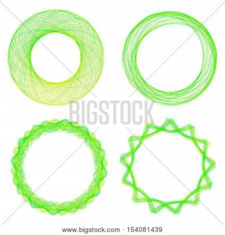 Set of mandalas. The ornament a circular geometric pattern spirogram. Oriental pattern. Concentric radiating graphic. Abstract circular spiral element. Vector illustration on isolated background.