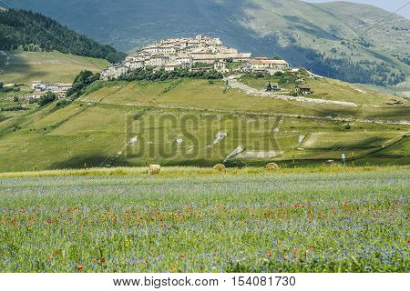 Castelluccio of Norcia a town in the national park of the Sibillini mountains in Italy. City destroyed by an earthquake in October 30 2016