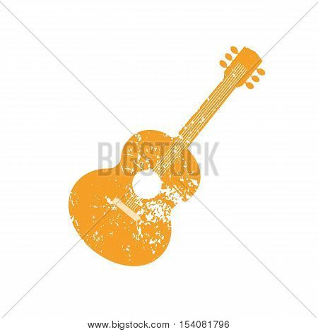 Template Design Poster with acoustic guitar silhouette. Idea for Live Music Festival Entertainment or club promotion, advertisement element. Musical instrument symbol, logo.Vector illustration.