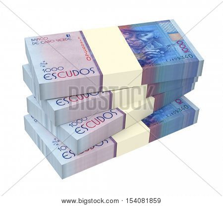 Cape Verdean escudos bills isolated on white background. 3D illustration.