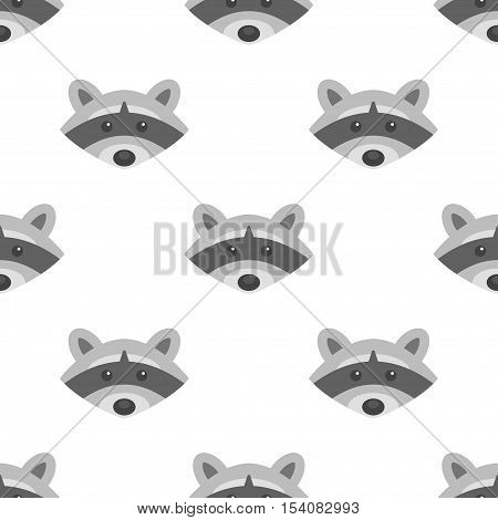 Vector flat style seamless pattern with raccoon. Isolated on white background.