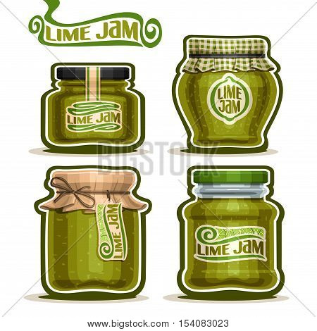 Vector logo Lime Jam in Jars with paper cover lid, rustic green Pot home made citrus lime jams, twine rope bow, homemade fruit jam jar, farm jelly pot with label, checkered cloth cap isolated on white