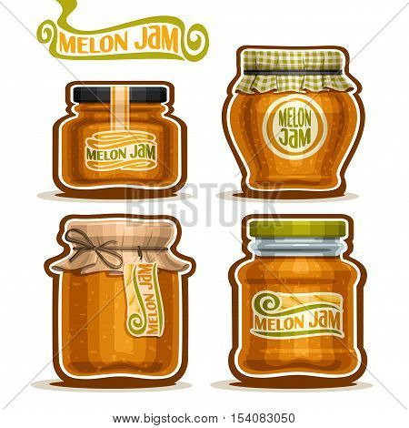 Vector logo Melon Jam in glass Jars with paper cover lid, rustic Pot home made melon jams, twine rope bow, set homemade fruit jam jar, farm jelly pot with label, checkered cloth cap, isolated on white