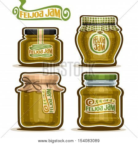 Vector logo Feijoa Jam in glass Jars with paper cover lid, rustic Pot home made feijoa jams, twine rope bow, homemade fruit jam jar, farm jelly pot with label, checkered cloth cap, isolated on white.
