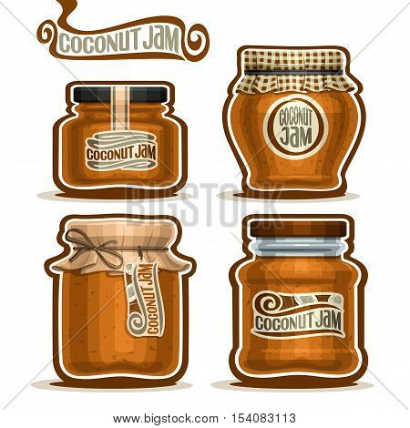Vector logo Coconut Jam in glass Jars with paper cover lid, rustic Pot home made coconut jams, twine rope bow, homemade fruit jam jar, farm jelly pot with label, checkered cloth cap, isolated on white
