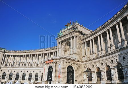 VIENNA AUSTRIA - JUNE 6: Facade of Hofburg palace Austria on June 6 2016. Vienna is a capital and largest city of Austria.