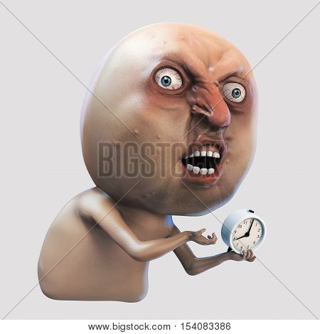 Internet meme Why You No wake me up. Rage face 3d illustration isolated