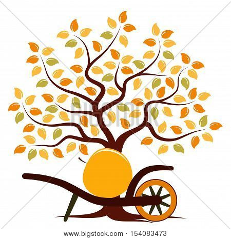 vector autumn tree and hand barrow with one big apple isolated on white background