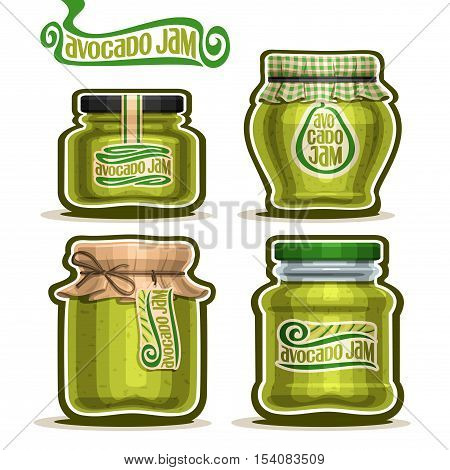 Vector logo Avocado Jam in Jars with paper cover lid, rustic Pot home made avocado jams, twine rope bow, set homemade fruit jam jar, green jelly pot with label, checkered cloth cap, isolated on white.
