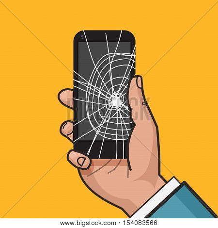 Smartphone with a cracked screen in a man's hand. Broken phone. Crack on screen. Vector illustration. Pop art style.