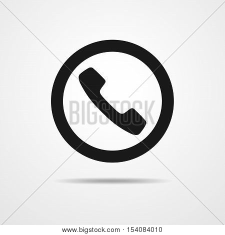 Black handset icon. Vector illustration. Simple handset icon isolated on light background. Phone call icon