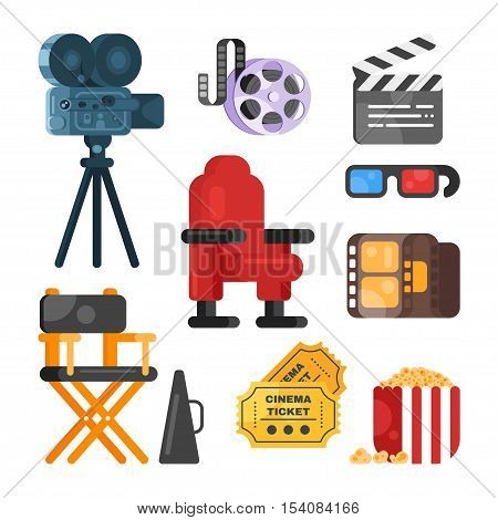 Vector flat style set of old cinema icon for online movies. Isolated on white background. Camera, clapboard, directors chair, tickets, pop corn.