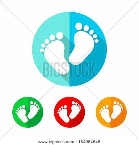 Set of colored footprint icons. White footprint icon with long shadow. Vector illustration. Footprint on a the round button
