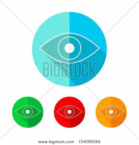 Set of colored eye icons. White eye icon with long shadow. Vector illustration. Eye sign on a the round button.