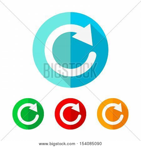 Set of colored update icons. White update icon with long shadow. Vector illustration. Update sign on a the round button.